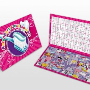 Miesięczny kalendarz szczotkowań różowy